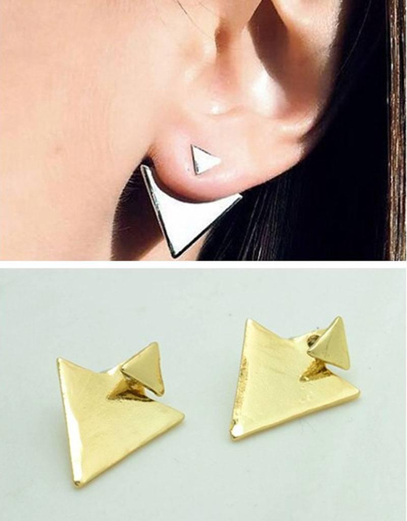 Vergulde driehoekige Vintage oorbellen