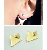Verzilverde driehoekige Vintage oorbellen