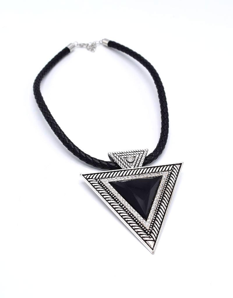 Verzilverde leder Vintage halsketting