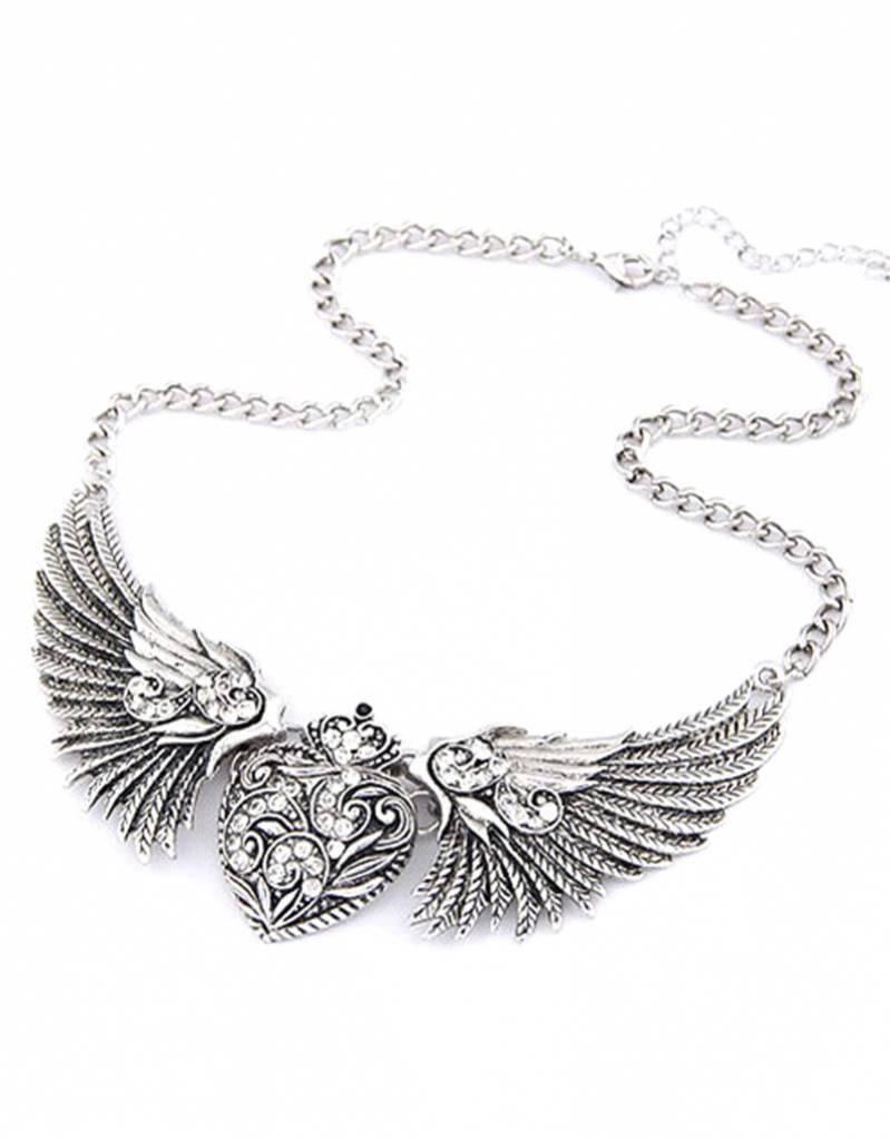 Verzilverde Vintage halsketting met Engelenvleugels