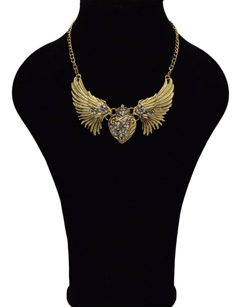 Vergulde Vintage halsketting met Engelenvleugels