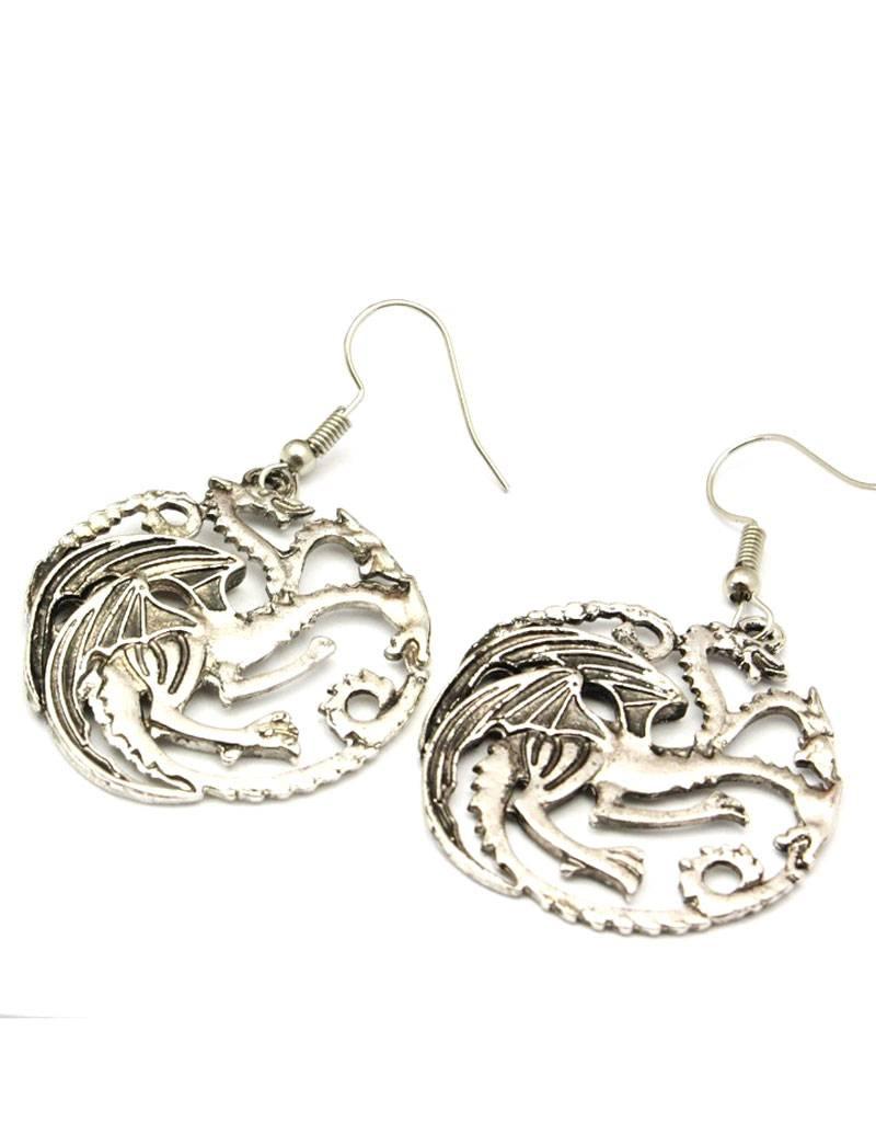 Verzilverde oorbellen met Draak afbeelding
