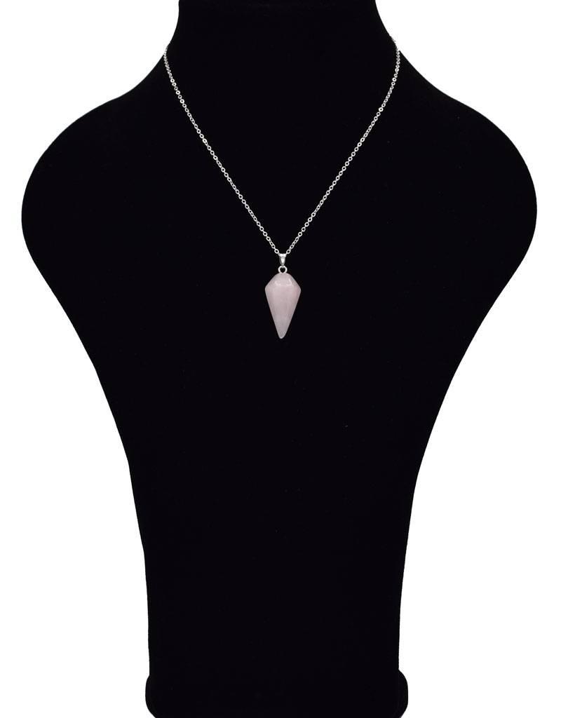 Halsketting met rozenkwarts pendel