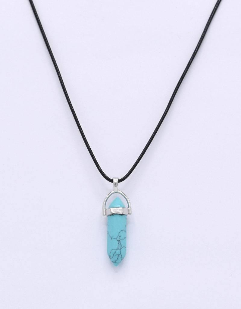 Halsketting met turquoise pendel