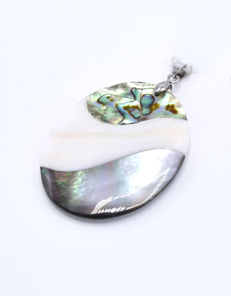 Halsketting met mozaiek schelp hanger