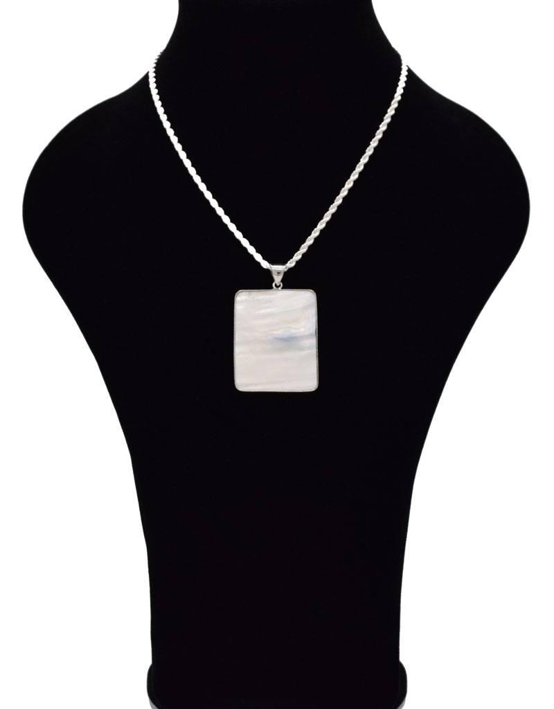 Halsketting met rechthoek schelp hanger