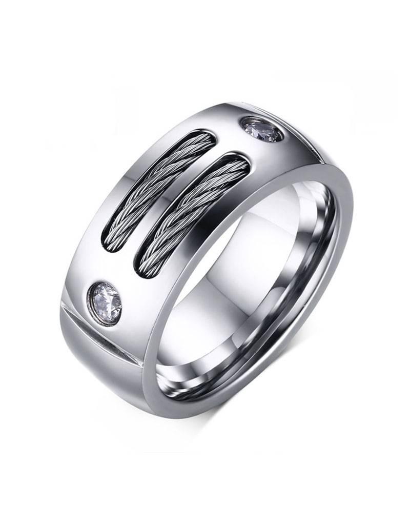Stainless steel ring met zirkonia