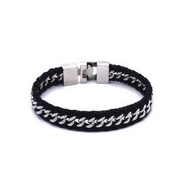 Zwart leder armband met RVS schakels
