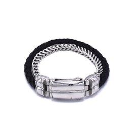 Zwart leder en stainless steel armband