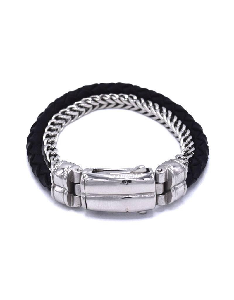 Leder en stainless steel armband