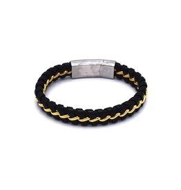 Leder armband met vergulde schakels
