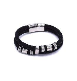 Zwarte gesplitste bolo lederen armband