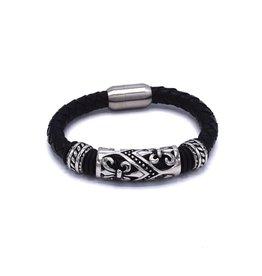Zwarte bolo lederen armband