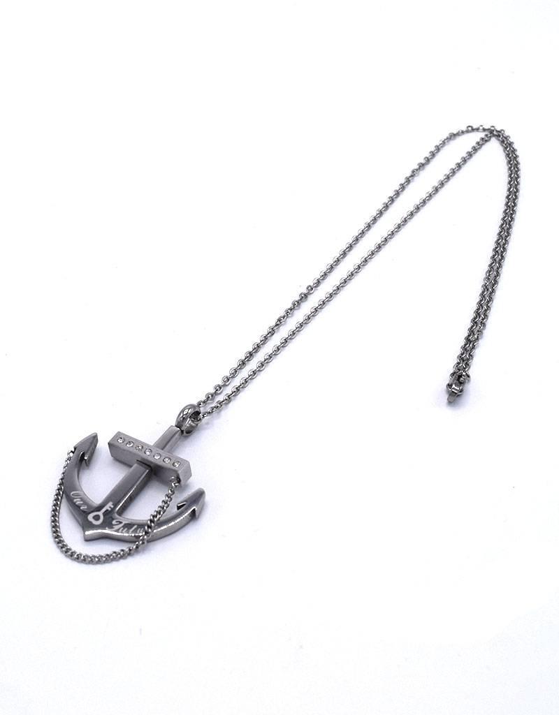 Stalen halsketting met anker en zirkonia