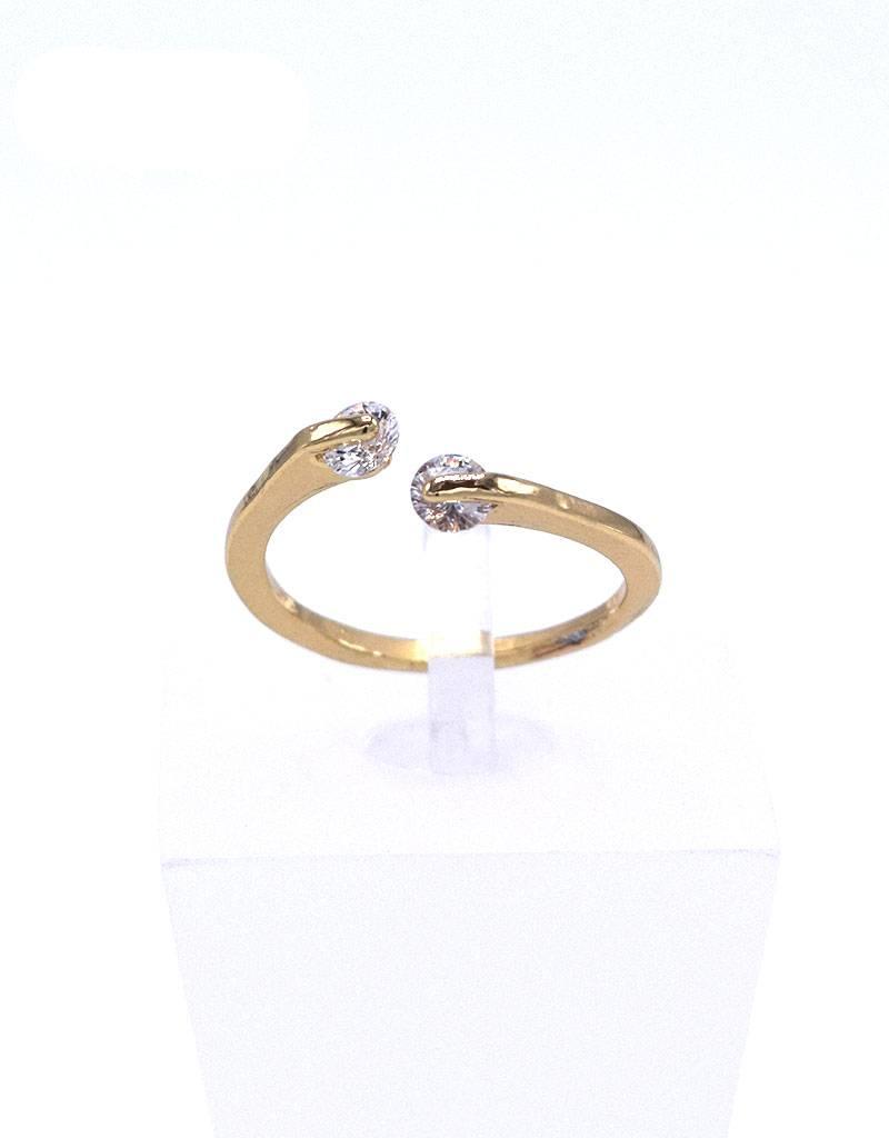 Vergulde ring met zirkonia