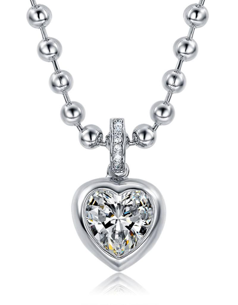Halsketting hartvorm met zirkonia