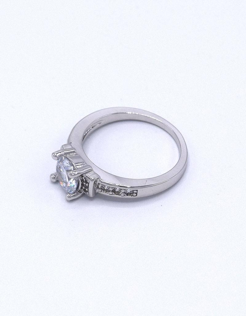 Wit vergulde ring met zirkonia