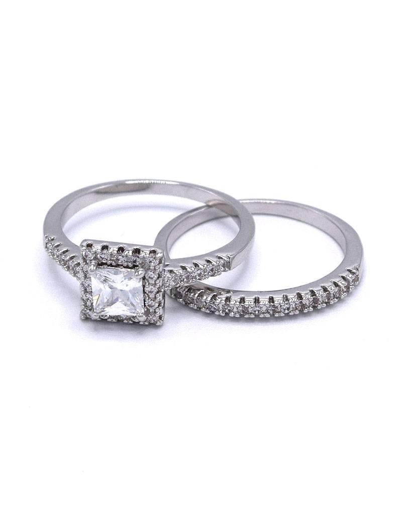 Wit vergulde dubbele ring met zirkonia