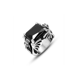 Stainless steel ring met zwarte agaat