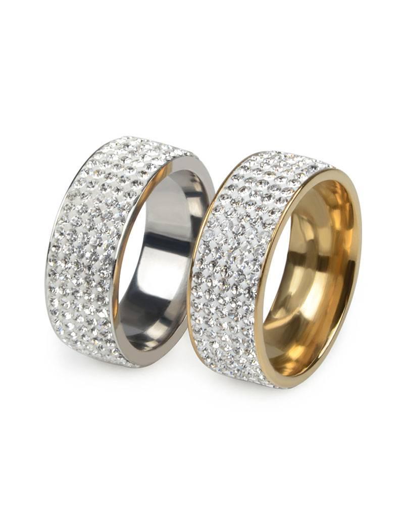Stalen ring met zirkonia steentjes