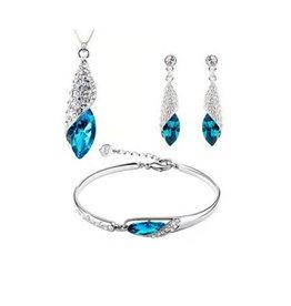 Set halsketting, oorbellen en armband kobalt blauw
