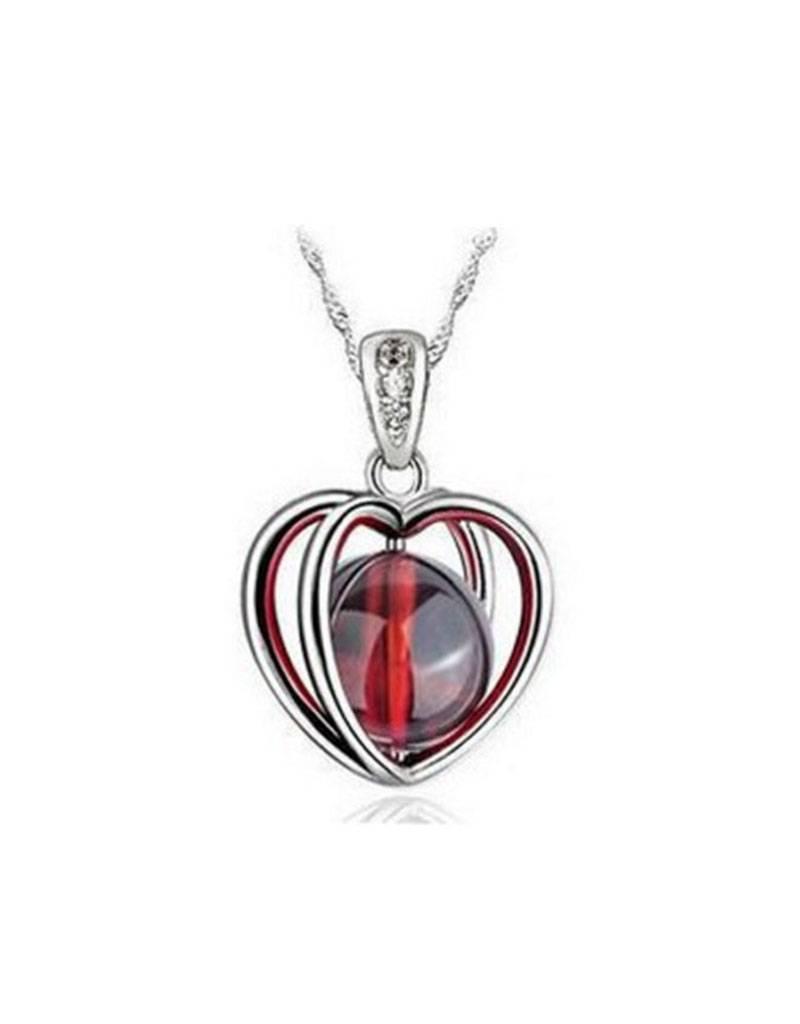 Zilveren halsketting rode granaatappel