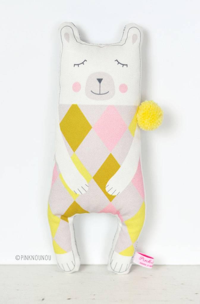 PinkNounou Mr Pom Pom Polar Bear knuffel