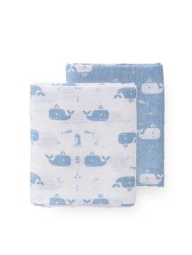 Fresk Swaddle set 2 st. 70x60 cm Whale blue fog