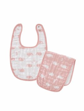 Fresk Bib and burb cloth Whale mellow rose