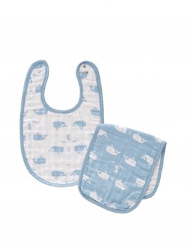 Fresk Bib and burp cloth Whale blue fog