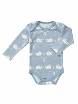 Fresk Romper long sleeve Whale blue fog