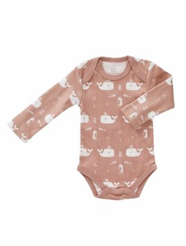 Fresk Romper long sleeve Whale mellow rose
