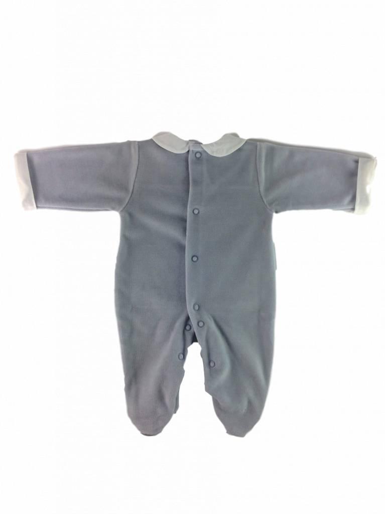 Babidu Velours babypakje met kraagje en zakjes – grijs