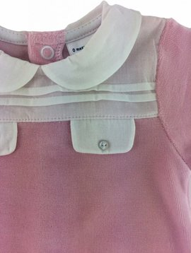 Babidu Velours babysuit with collar and pocket – pink