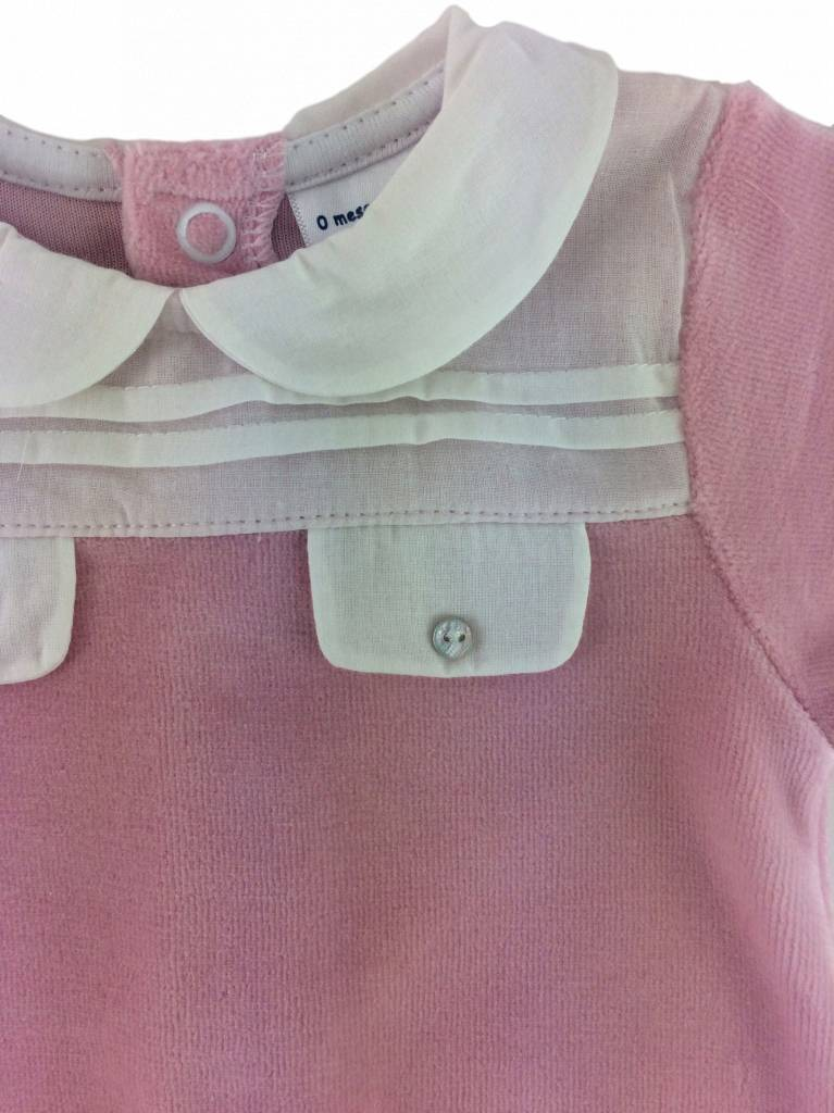 Babidu Velours babypakje met kraagje en zakjes – roze