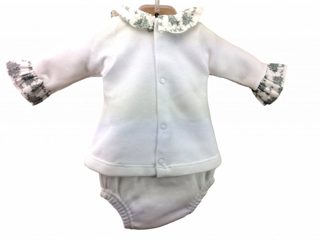 Babidu Babysuit with rouches on arm and collar