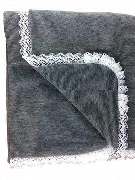 Babidu Baby blanket grey with lace