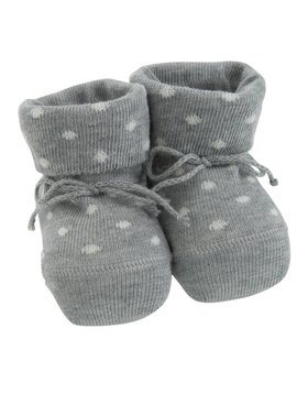 Paolo Romboli Baby booties with dots - grey