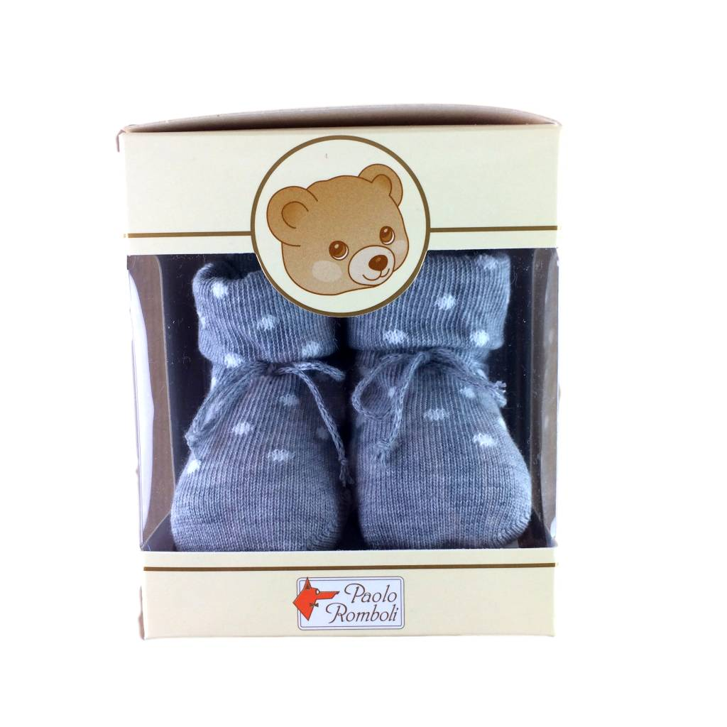 Paolo Romboli Babyslofjes met witte stippen - grijs
