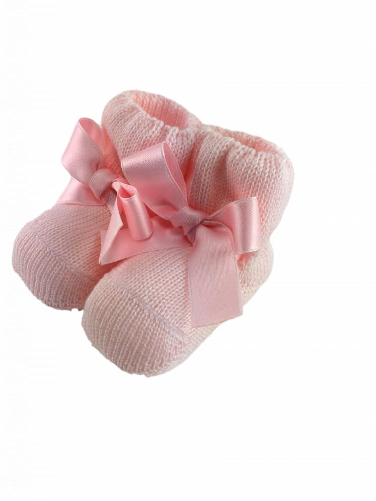 Paolo Romboli Baby booties with satin bow -pink