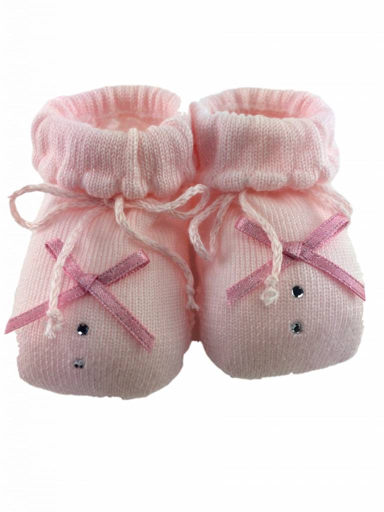Paolo Romboli Baby booties with bow and diamond - pink