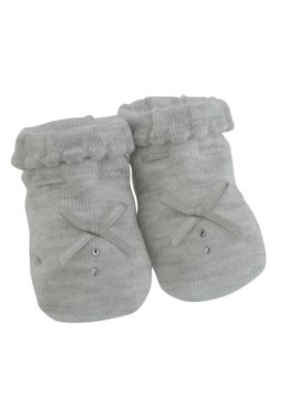 Paolo Romboli Baby booties with bow and diamond - grey