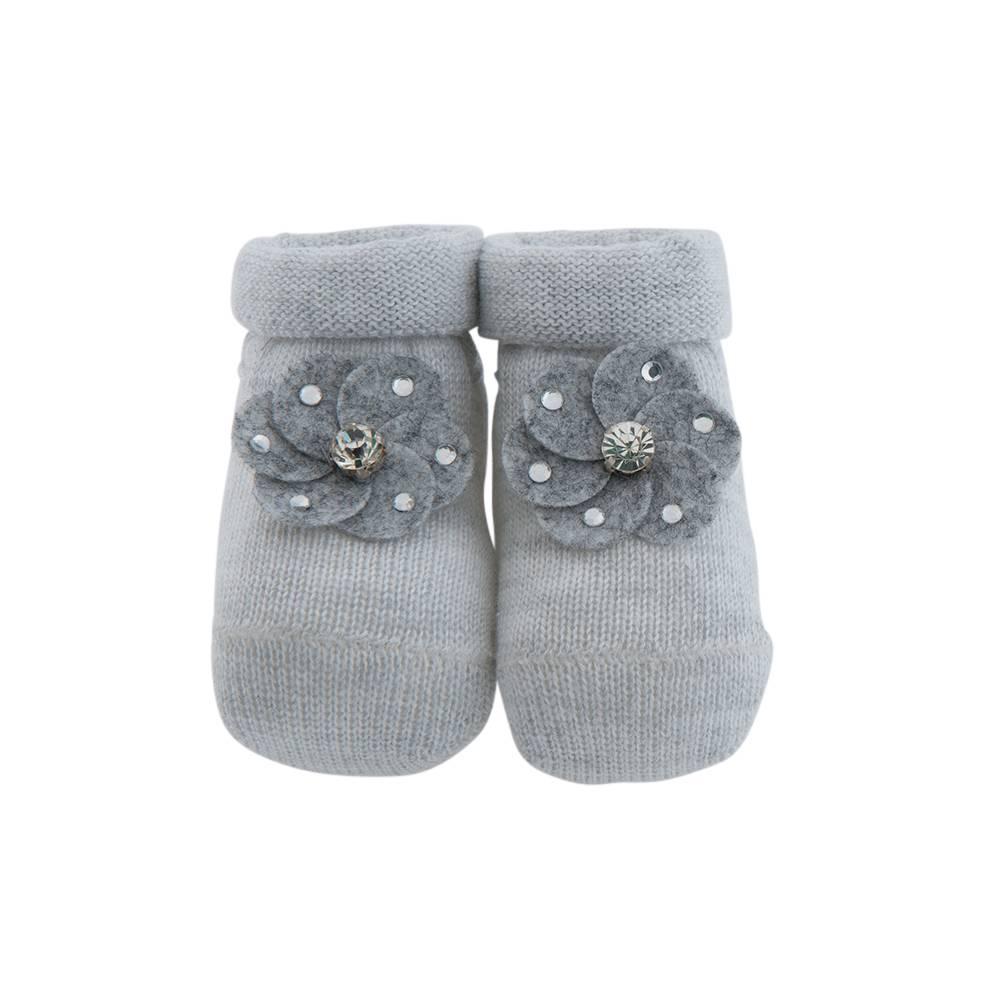 Paolo Romboli Babyslofjes met bloemetje – grijs