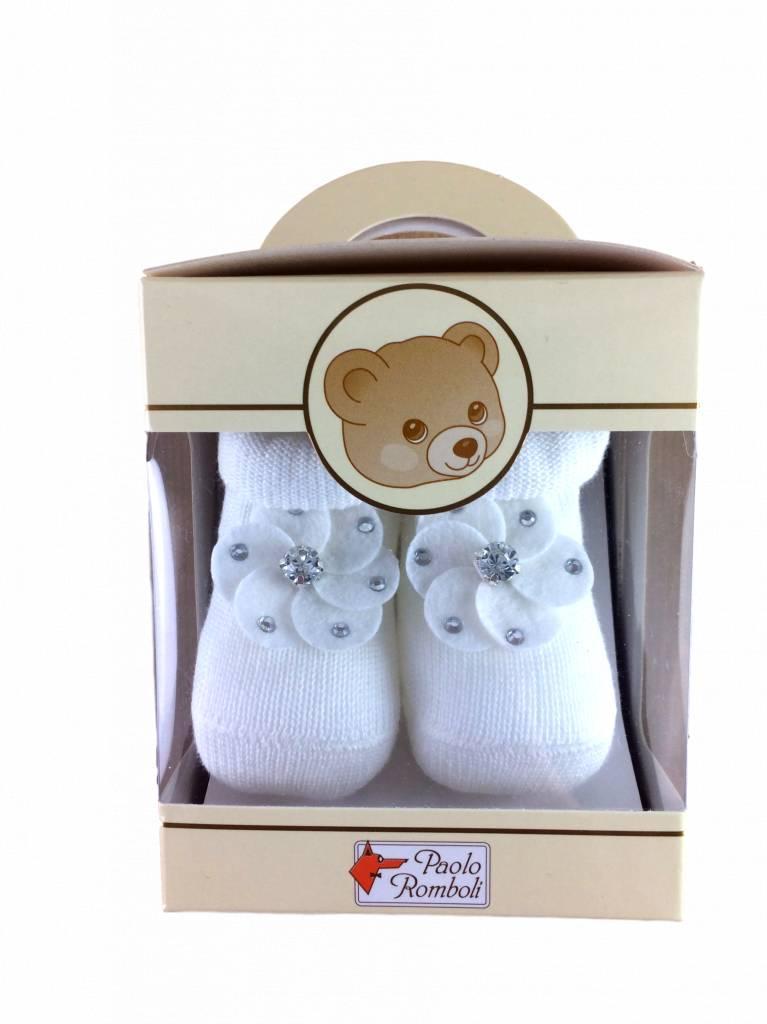 Paolo Romboli Babyslofjes met bloemetje – crème wit