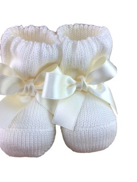Paolo Romboli Baby booties with satin bow - off white