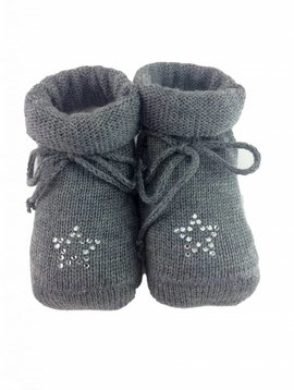 Paolo Romboli Baby booties with star - grey