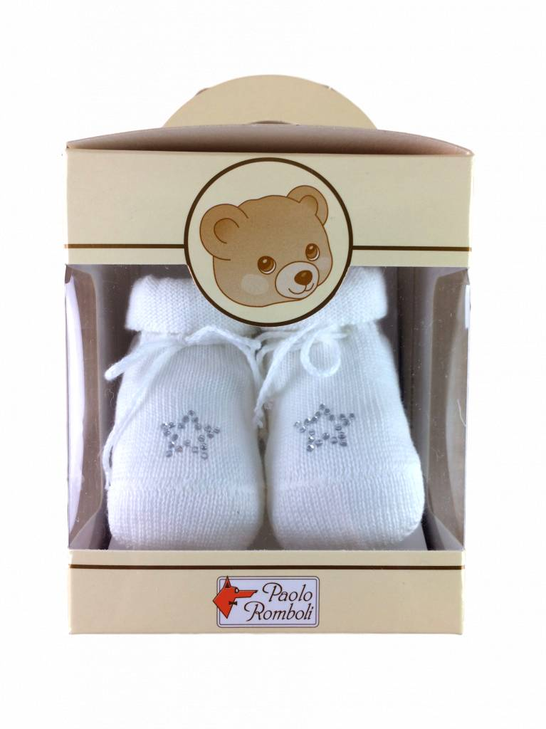 Paolo Romboli Baby booties with star - off white