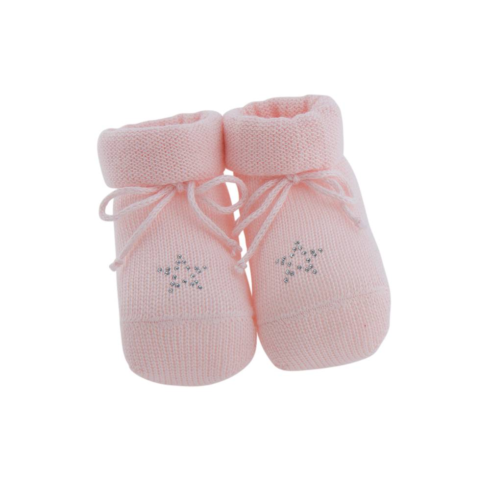 Paolo Romboli Baby booties with star - pink