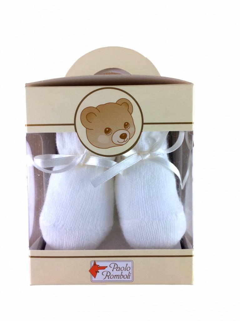 Paolo Romboli Babyslofjes strikje – crème wit