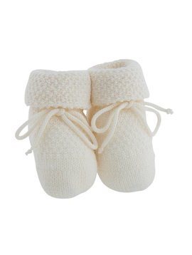 Paolo Romboli Baby booties with knitted pattern- off white